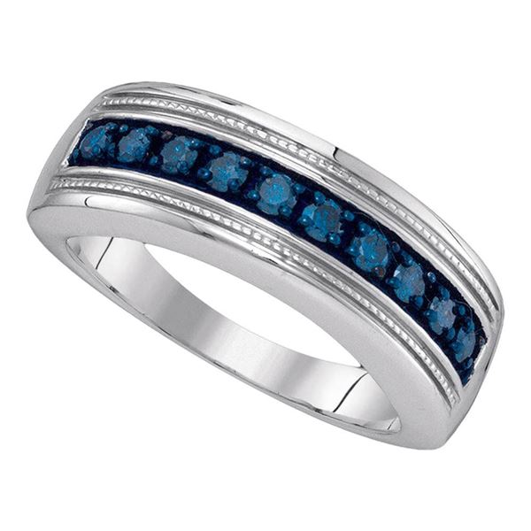 Sterling Silver Mens Blue Color Enhanced Diamond Wedding Anniversary Band 1/2 Cttw Sterling Silver