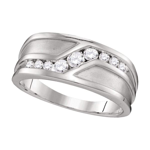 Mens Diamond Wedding Band Ring 1/2 Cttw 10kt White Gold