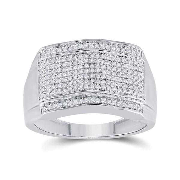 Mens Diamond Cluster Ring 1/2 Cttw 10kt White Gold