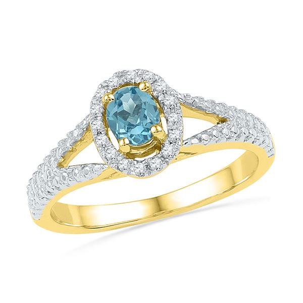 Oval Lab-Created Blue Topaz Solitaire Ring 5/8 Cttw 10kt Yellow Gold