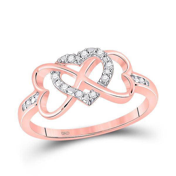 Diamond Triple Heart Infinity Ring 1/10 Cttw 10kt Rose Gold