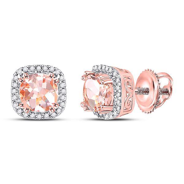 Cushion Morganite Diamond Halo Earrings 1 Cttw 10kt Rose Gold