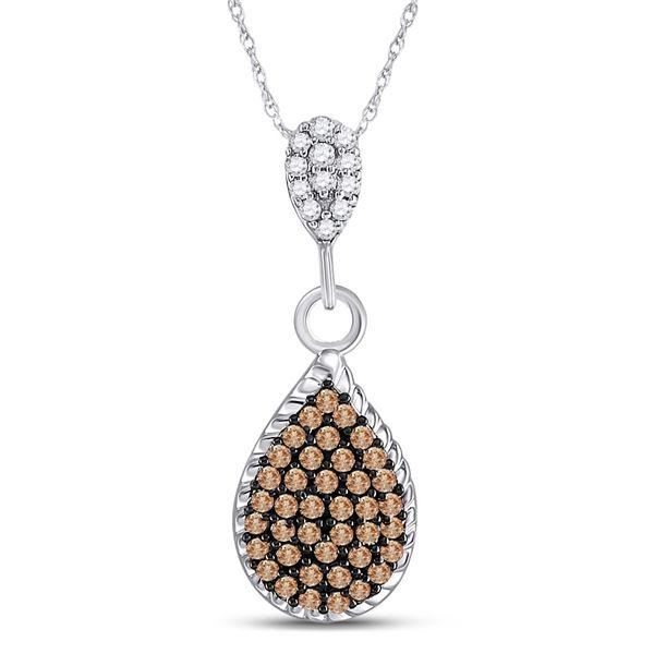 Brown Diamond Teardrop Cluster Pendant 1/4 Cttw 10kt White Gold