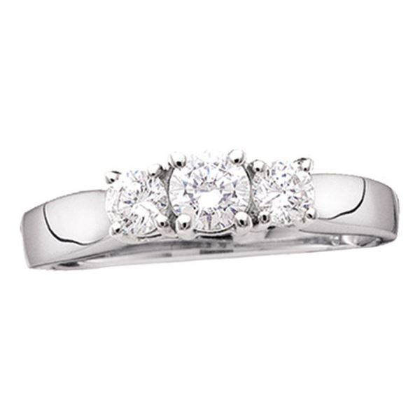Diamond 3-stone Bridal Wedding Engagement Ring 1/2 Cttw 14kt White Gold