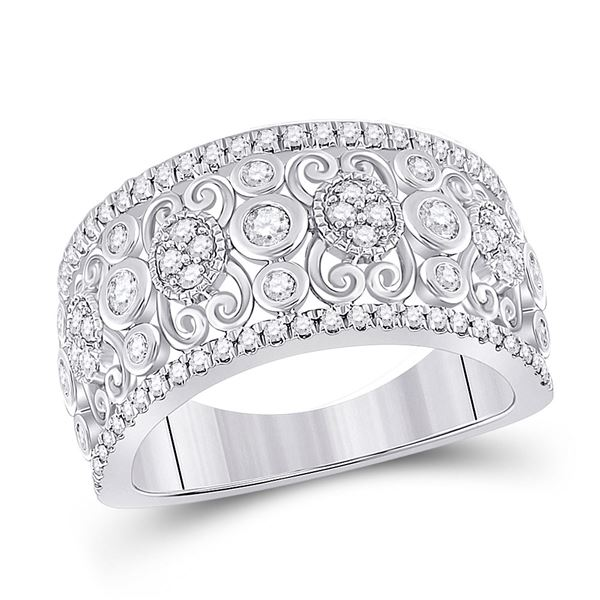 Diamond Scroll Cluster Band Ring 5/8 Cttw 14kt White Gold