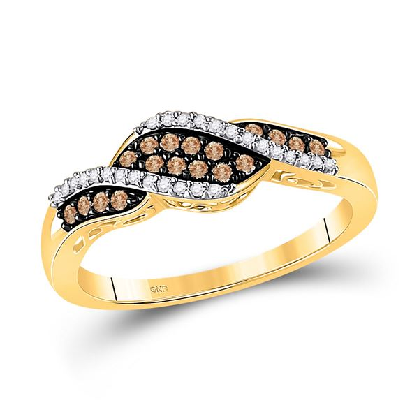Brown Diamond Band Ring 1/5 Cttw 10kt Yellow Gold