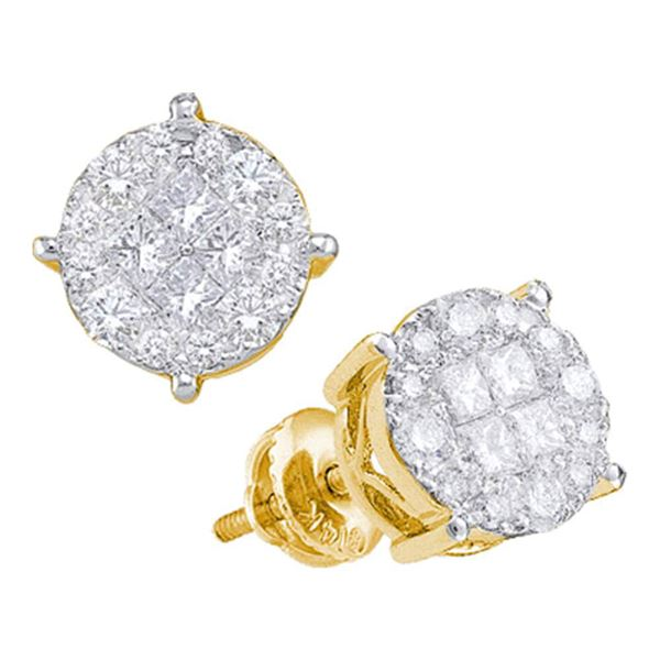 Princess Diamond Cluster Earrings 1/2 Cttw 14kt Yellow Gold