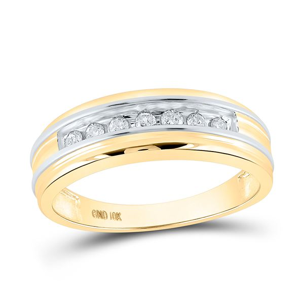 Mens Diamond Single Row Band Ring 1/4 Cttw 10kt Two-tone Gold