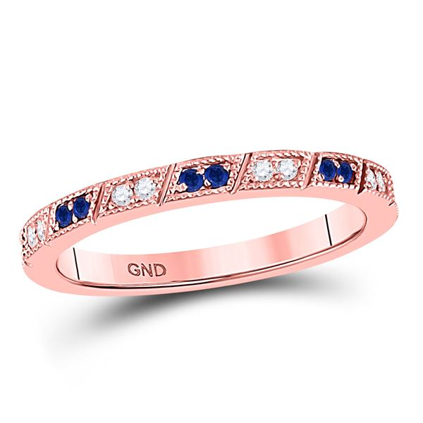 Blue Sapphire Diamond Milgrain Stackable Band Ring 1/4 Cttw 10kt Rose Gold
