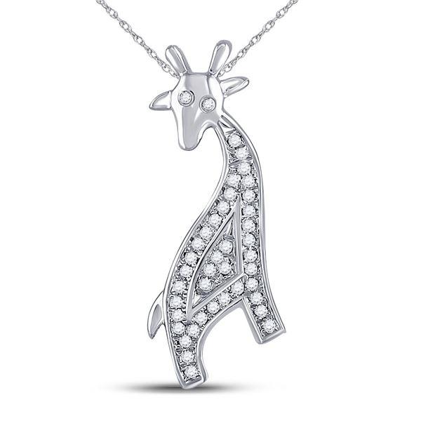Diamond Giraffe Animal Pendant 1/10 Cttw 10kt White Gold