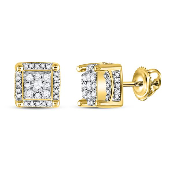 Mens Diamond Fashion Cluster Earrings 1/2 Cttw 10kt Yellow Gold