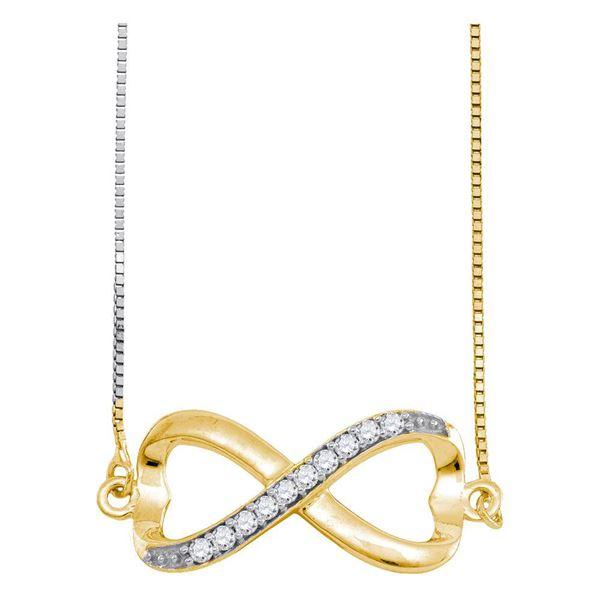 Diamond Infinity Pendant Necklace 1/10 Cttw 10kt Yellow Gold