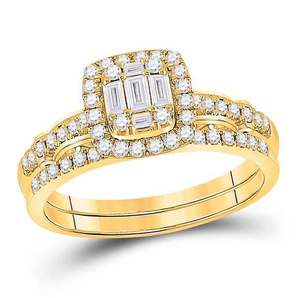 Baguette Diamond Bridal Wedding Ring Band Set 3/4 Cttw 14kt Yellow Gold
