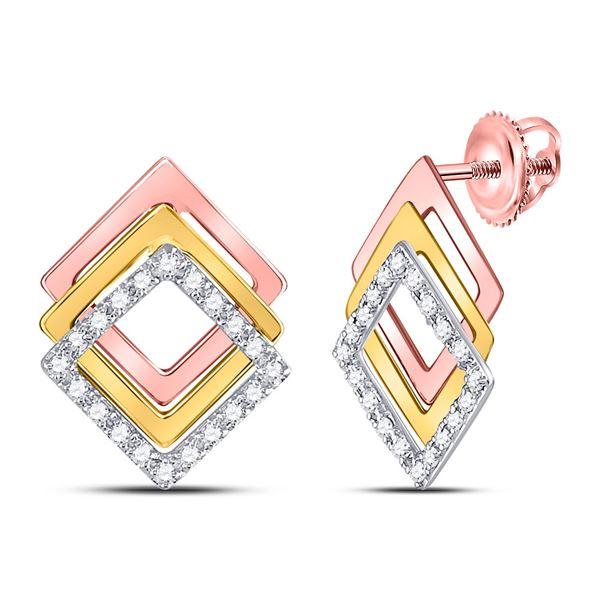 Diamond Offset Square Earrings 1/6 Cttw 10kt Tri-Tone Gold