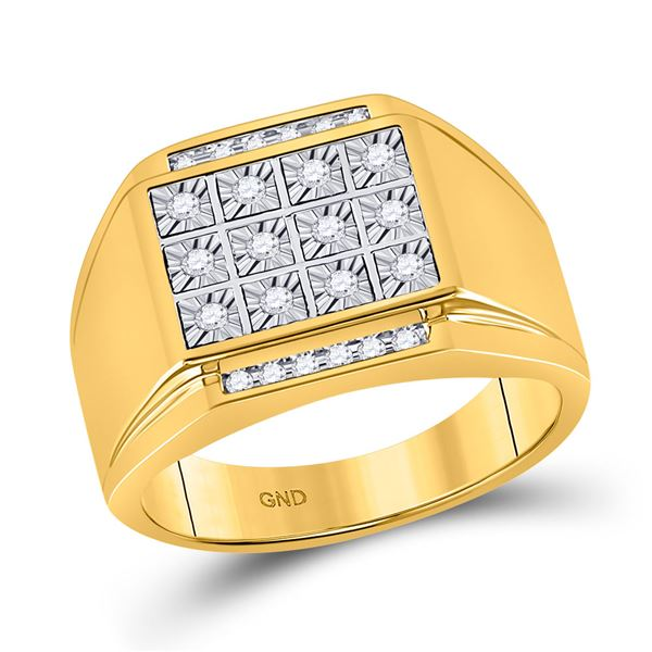 Mens Diamond Square Cluster Ring 1/4 Cttw 10kt Yellow Gold