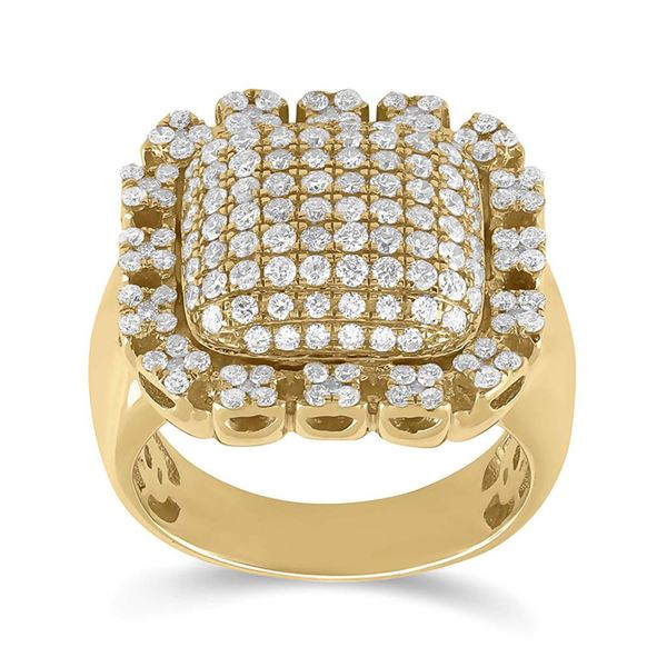 Mens Diamond Pillow Cluster Ring 2-1/2 Cttw 10kt Yellow Gold