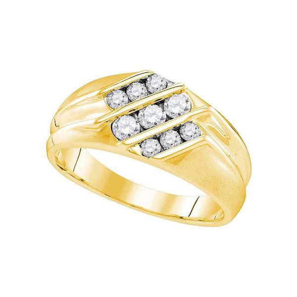 Mens Diamond Wedding Triple Row Band Ring 5/8 Cttw 10kt Yellow Gold