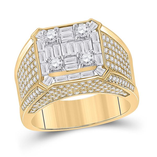 Mens Baguette Diamond Square Ring 2-7/8 Cttw 14kt Yellow Gold