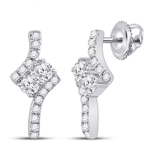 Diamond 2-stone Earrings 1/4 Cttw 14kt White Gold
