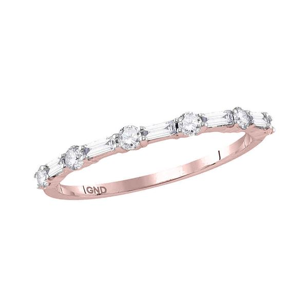 Baguette Diamond Stackable Band Ring 3/8 Cttw 10kt Rose Gold