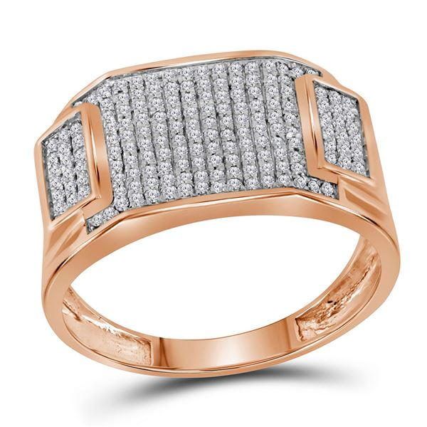 Mens Diamond Rectangle Cluster Ring 1/2 Cttw 10kt Rose Gold