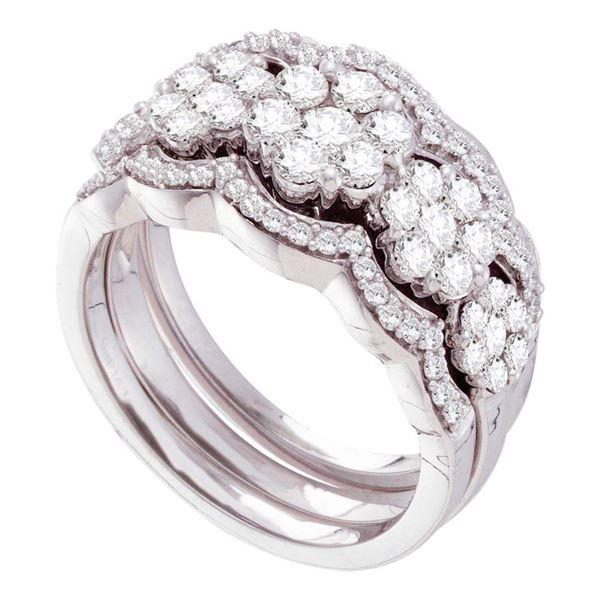 Diamond 3-Piece Bridal Wedding Ring Band Set 1-1/2 Cttw 14kt White Gold