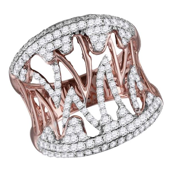Diamond Cocktail Band Ring 1 Cttw 10kt Two-tone Gold