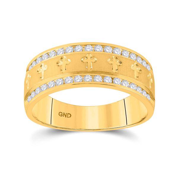 Mens Channel-set Diamond Cross Wedding Band Ring 1/2 Cttw 14kt Yellow Gold