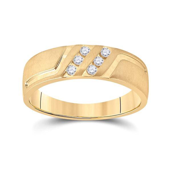Mens Diamond Wedding Band Ring 1/6 Cttw 14kt Yellow Gold