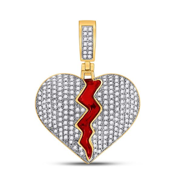 Mens Diamond Broken Split Heart Charm Pendant 3/4 Cttw 10kt Yellow Gold
