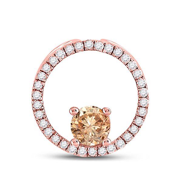 Morganite Diamond Circle Pendant 1/3 Cttw 10kt Rose Gold