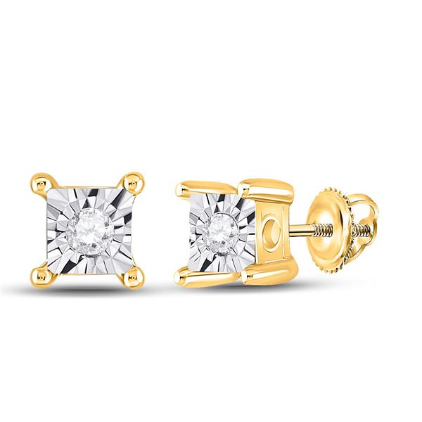 Diamond Miracle Stud Earrings 1/20 Cttw 10kt Yellow Gold