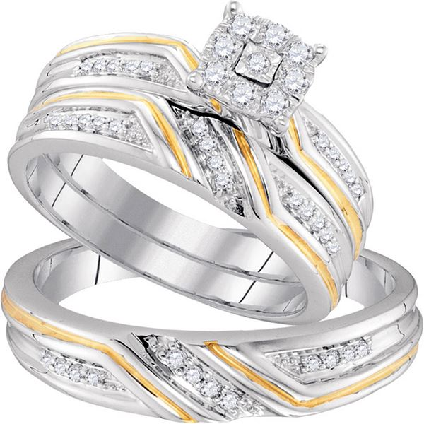 His Hers Diamond Cluster Matching Wedding Set 1/3 Cttw 10kt Two-tone Gold