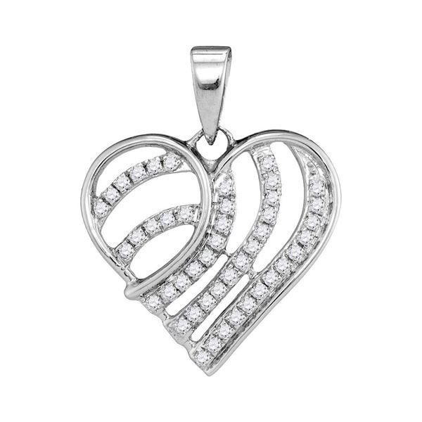 Diamond Heart Pendant 1/4 Cttw 10kt White Gold