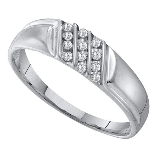 Mens Channel-set Diamond Diagonal Triple Row Wedding Band 1/8 Cttw 10kt White Gold
