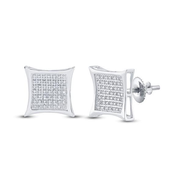 Diamond Kite Square Earrings 1/5 Cttw Sterling Silver