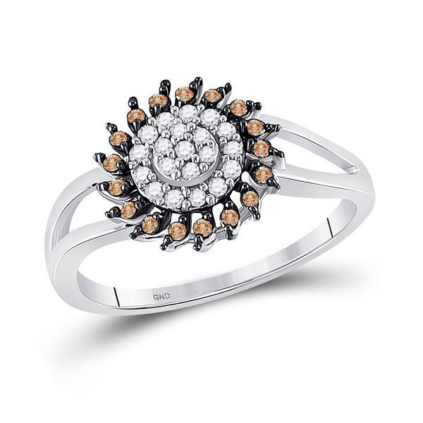 Brown Diamond Flower Cluster Ring 1/4 Cttw 10kt White Gold