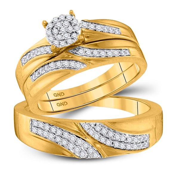 His Hers Diamond Cluster Matching Wedding Set 1/2 Cttw 10kt Yellow Gold