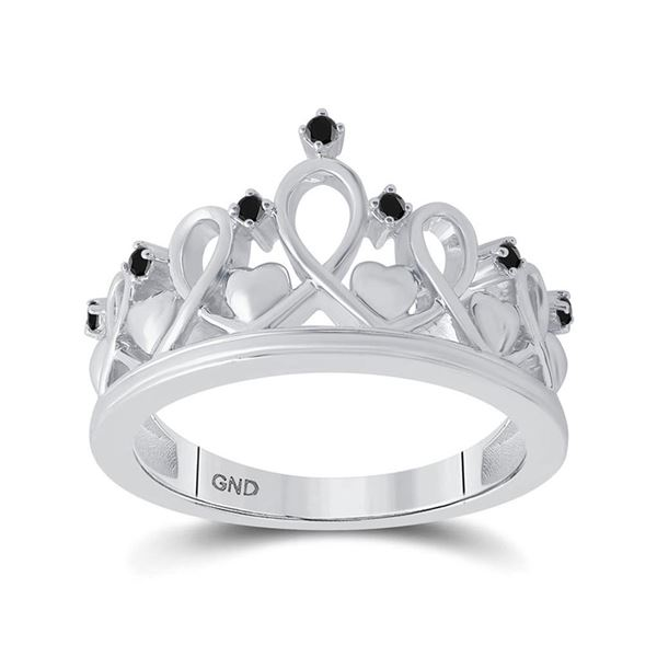 Black Color Enhanced Diamond Crown Fashion Ring 1/10 Cttw Sterling Silver