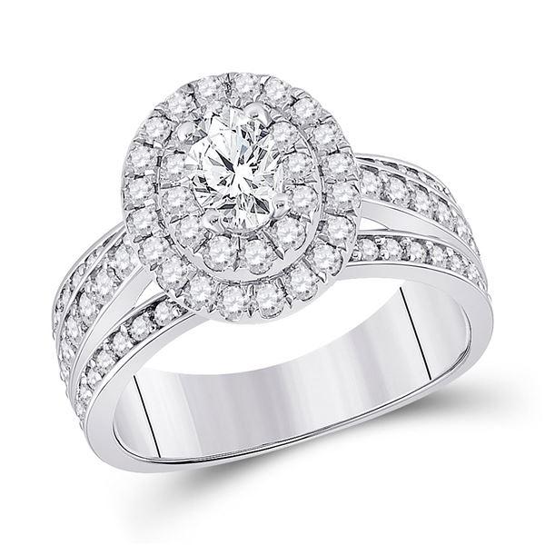 Oval Diamond Halo Bridal Wedding Engagement Ring 1-7/8 Cttw 14kt White Gold