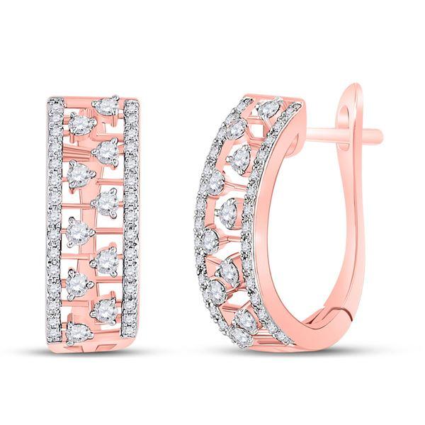 Diamond Hoop Earrings 1/2 Cttw 14kt Rose Gold