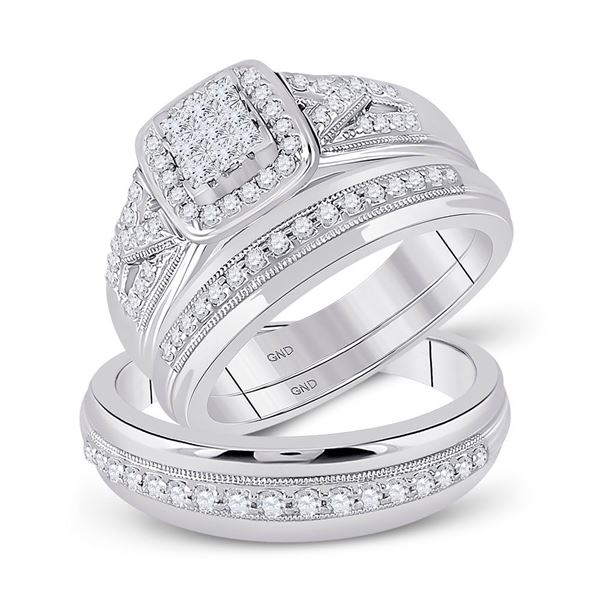 His Hers Diamond Square Matching Wedding Set 3/4 Cttw 10kt White Gold