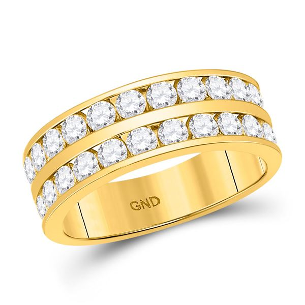 Mens Diamond Double Row Wedding Band Ring 2 Cttw 14kt Yellow Gold