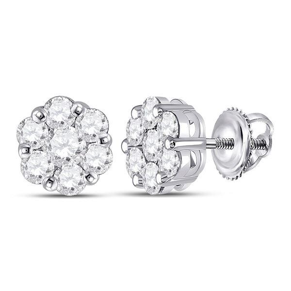 Diamond Flower Cluster Earrings 1-3/4 Cttw 14kt White Gold