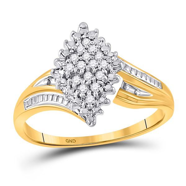 Prong-set Diamond Oval Cluster Ring 1/8 Cttw 10kt Yellow Two-tone Gold