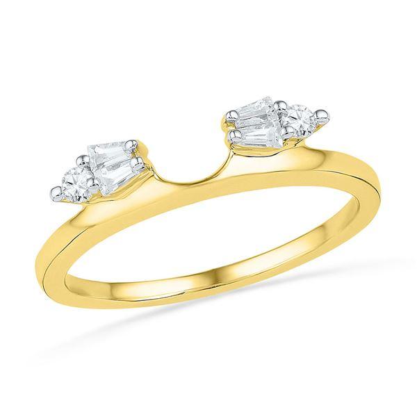 Baguette Diamond Ring Guard Wrap Solitaire Enhancer 1/5 Cttw 14kt Yellow Gold