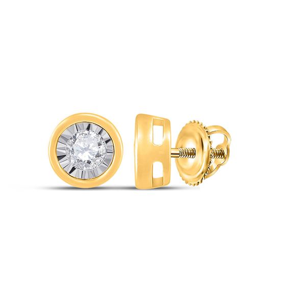Diamond Solitaire Earrings 1/6 Cttw 10kt Yellow Gold