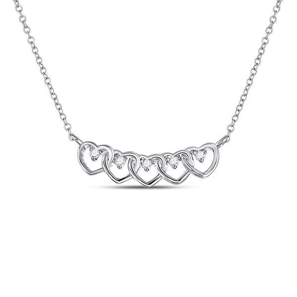 Diamond Heart Necklace 1/20 Cttw 14kt White Gold