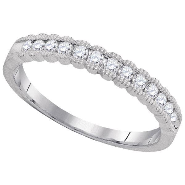 Diamond Single Row Band Ring 1/4 Cttw 10kt White Gold