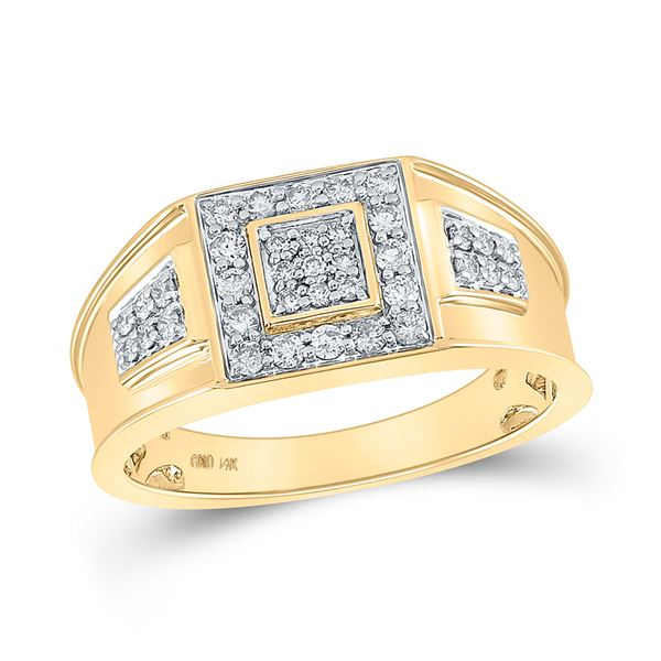 Mens Diamond Square Cluster Band Ring 1/2 Cttw 14k Yellow Gold